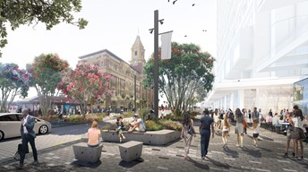Artist's impression of the refreshed Quay Street quarter outside the ferry terminal.