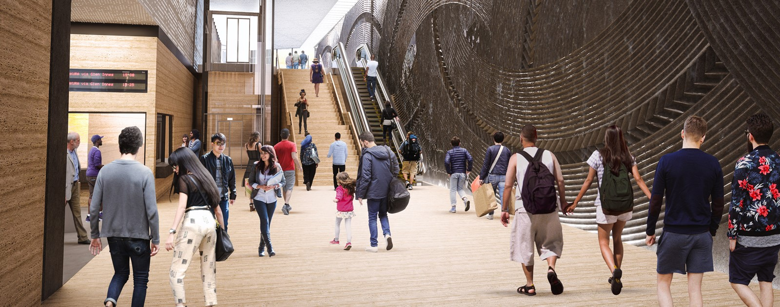 Artist's impression of the inside of the new Mt Eden train station.