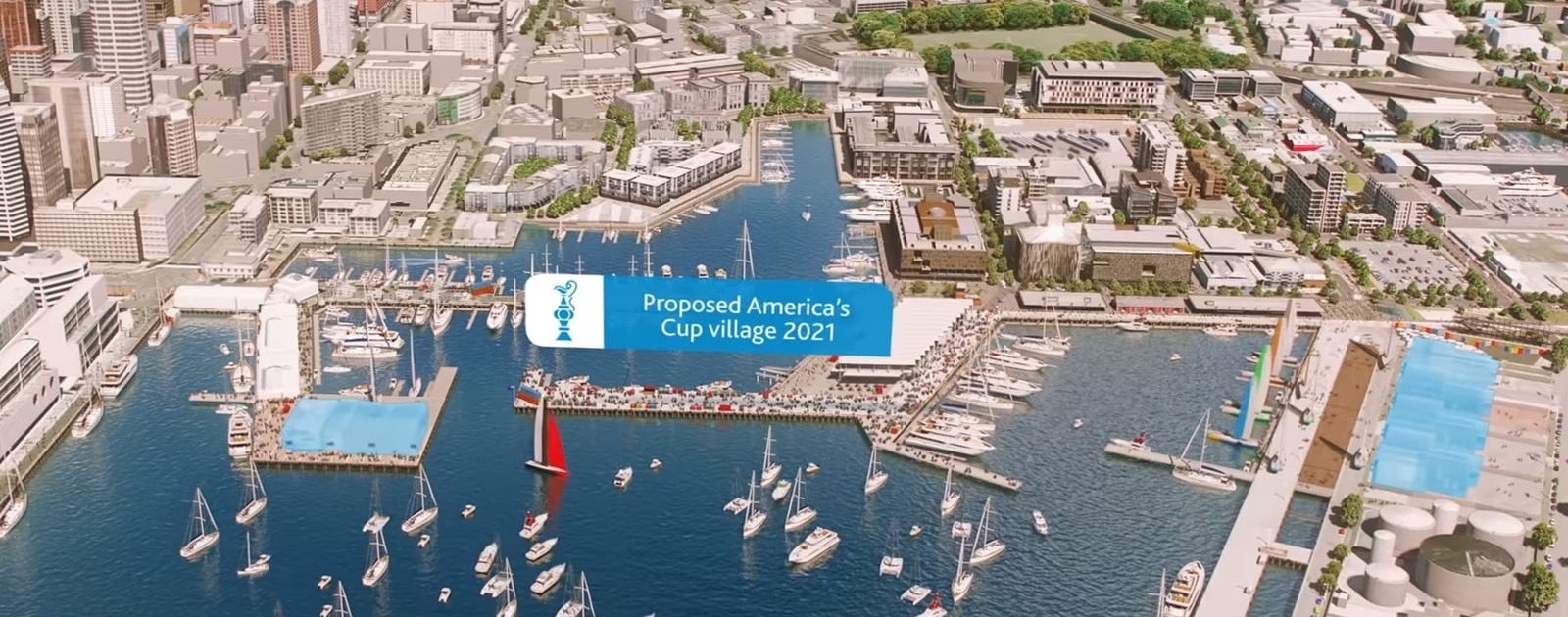 Aerial shot of the proposed new America's Cup floating village 2021 at Viaduct Harbour.
