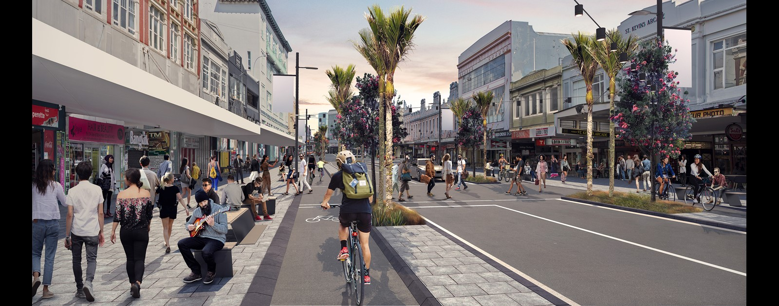 Artist's impression of the new K-Road with cycleways and new trees.