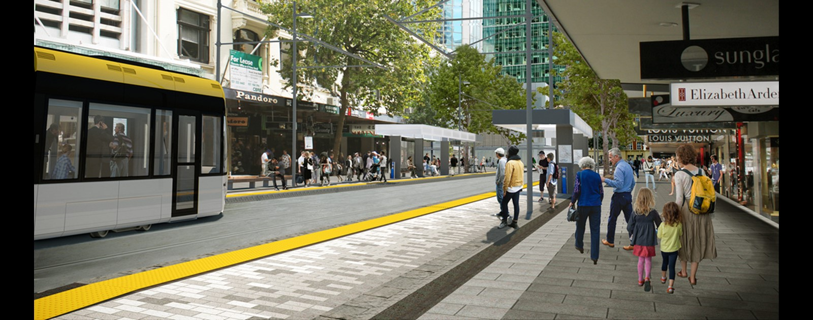 Artist's impression of light rail in lower Queen Street.