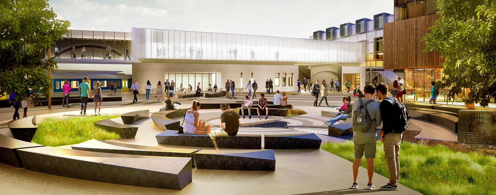 Artist's impression of the public seating area outside the new train station.